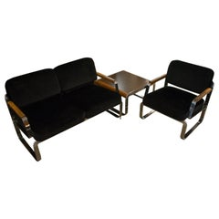 Midcentury Chrome and Mohair Loveseat, Chair and Table Set, 1960s