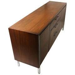 Mid Century Chrome and Walnut Server Credenza Sideboard