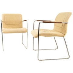 Mid Century Chrome and White Upholstery Lounge Chairs with Leather Wrap Armrest