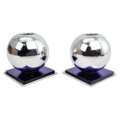 Mid-Century Chrome Ball & Steel Based Candlesticks with Cobalt Blue Accents