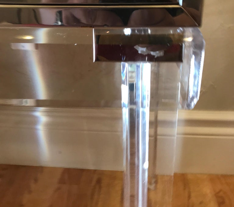 Midcentury Chrome and Brass Chest on Lucite Stand For Sale 8