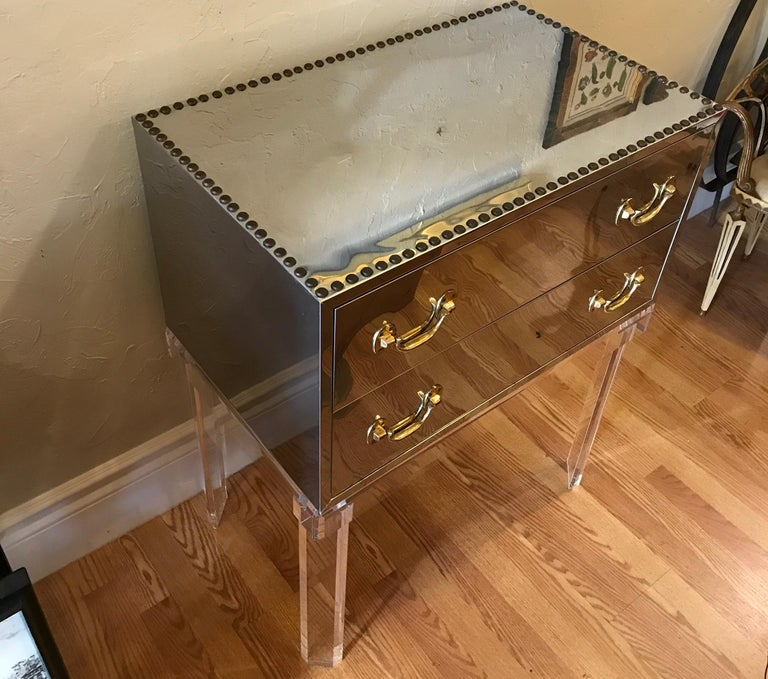20th Century Midcentury Chrome and Brass Chest on Lucite Stand For Sale