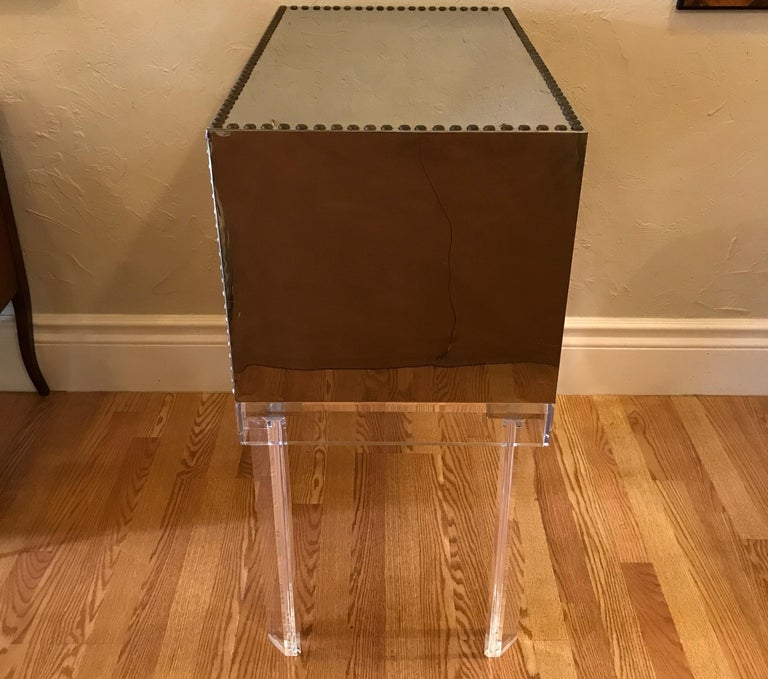 Midcentury Chrome and Brass Chest on Lucite Stand For Sale 1