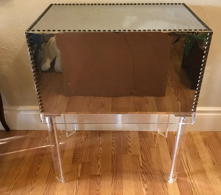 Midcentury Chrome and Brass Chest on Lucite Stand For Sale 2