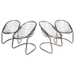 Mid-Century Chrome Cantilevered Chairs - Set of 4