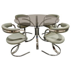 Mid century chrome dining chairs and table, 1970s