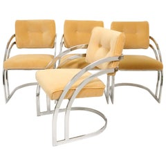 Midcentury Chrome Dining Chairs in the Manner of Milo Baughman, Set of 4