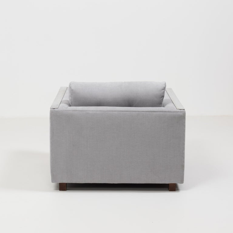 American Midcentury Grey & Chrome Frame Armchair in the Style of Milo Baughman For Sale