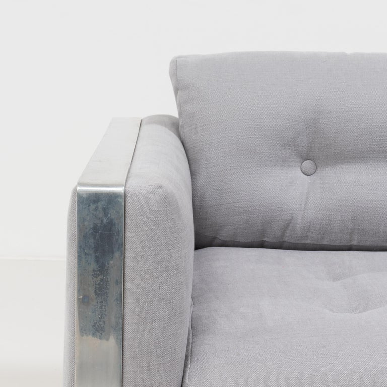 Mid-20th Century Midcentury Grey & Chrome Frame Armchair in the Style of Milo Baughman For Sale