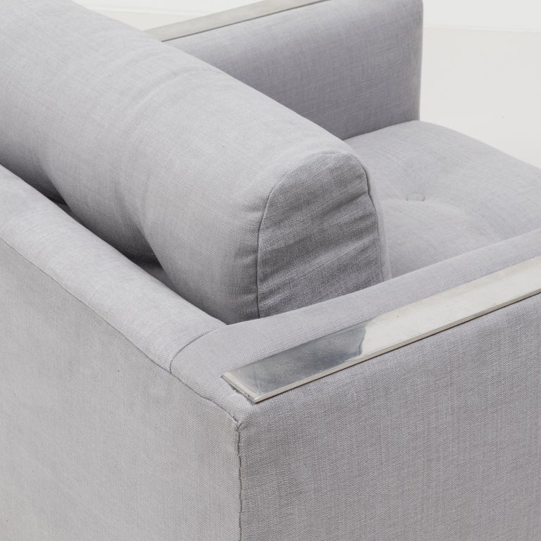 Fabric Midcentury Grey & Chrome Frame Armchair in the Style of Milo Baughman For Sale