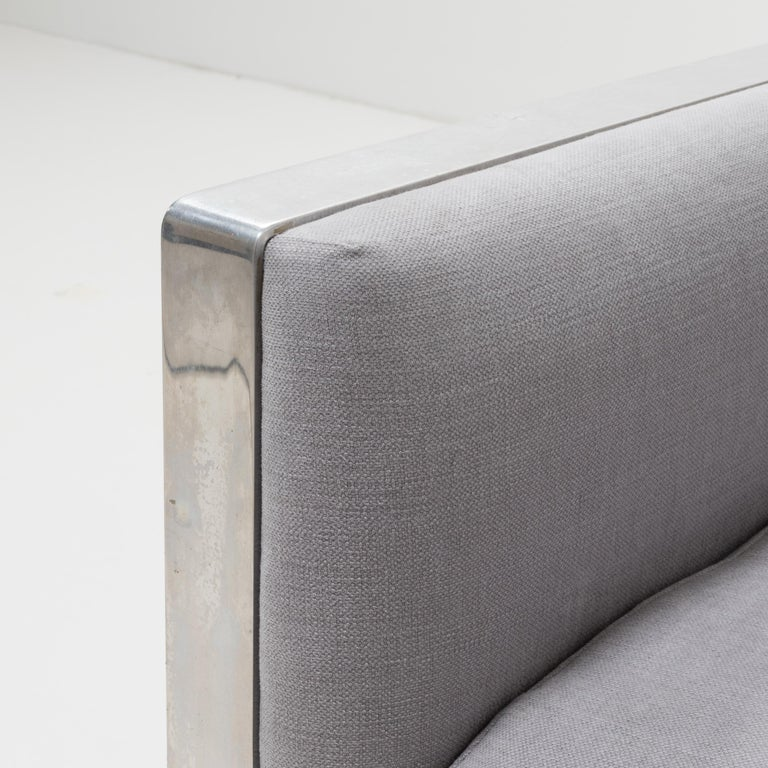 Midcentury Grey & Chrome Frame Armchair in the Style of Milo Baughman For Sale 2