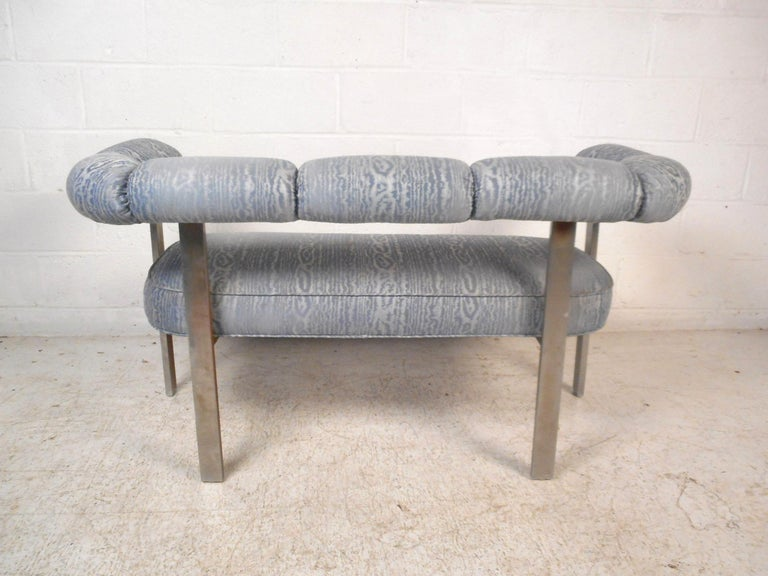20th Century Mid-Century Chrome Frame Upholstered Bench For Sale