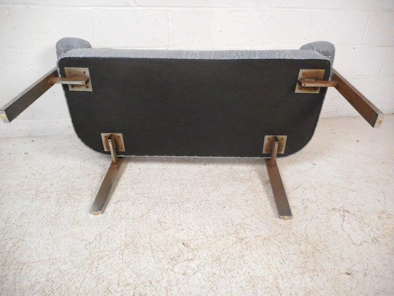 Upholstery Mid-Century Chrome Frame Upholstered Bench For Sale