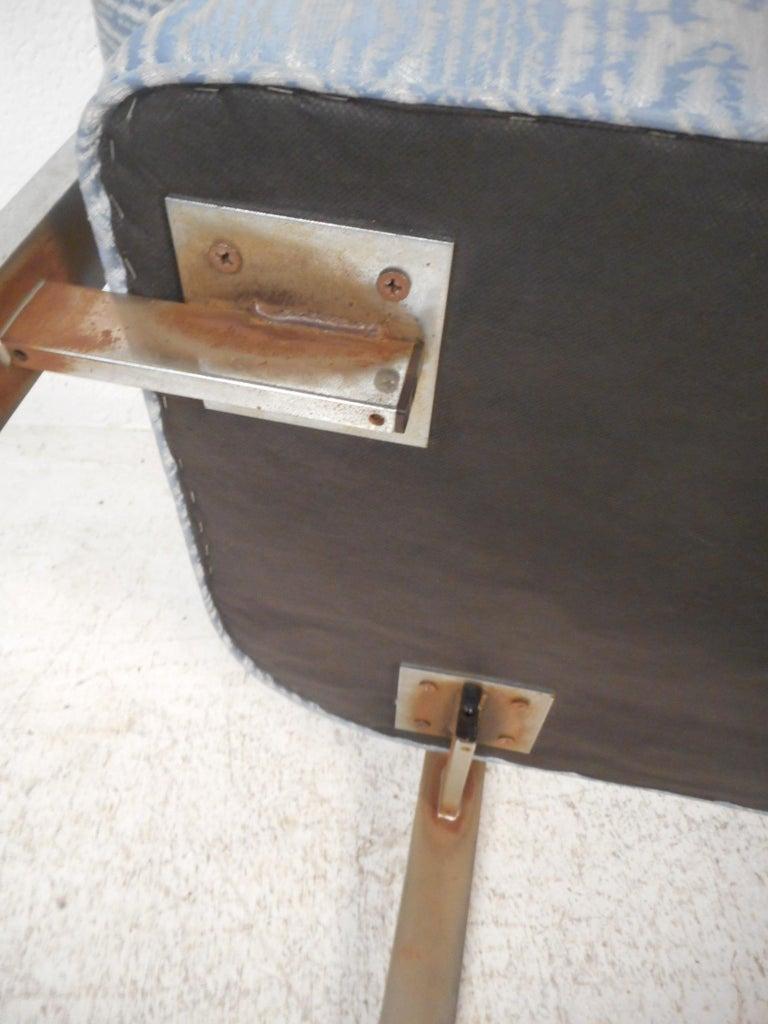 Mid-Century Chrome Frame Upholstered Bench For Sale 1