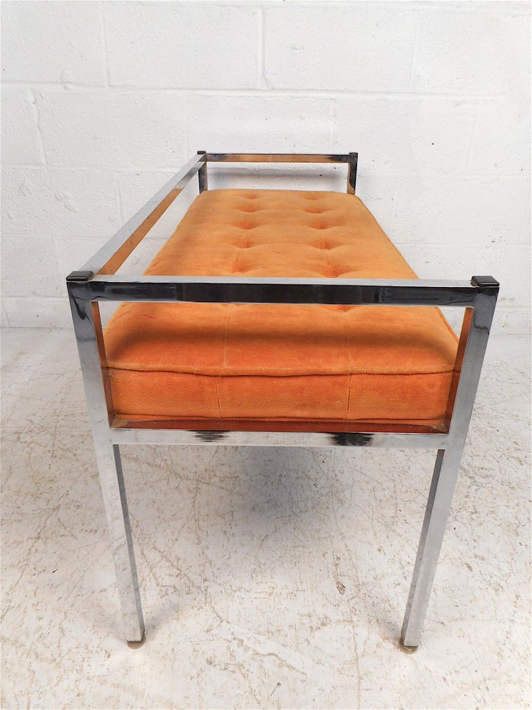 Midcentury Chrome-Framed Settee In Good Condition For Sale In Brooklyn, NY