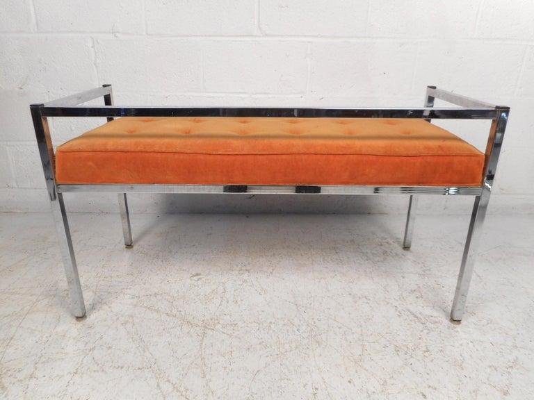 Upholstery Midcentury Chrome-Framed Settee For Sale