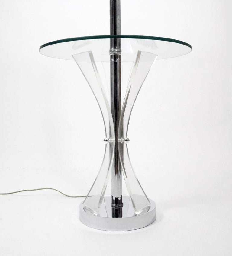 American Midcentury Chrome, Glass and Lucite Table Floor Lamp For Sale