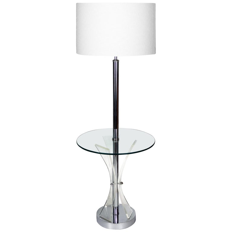 Midcentury Chrome, Glass and Lucite Table Floor Lamp For Sale