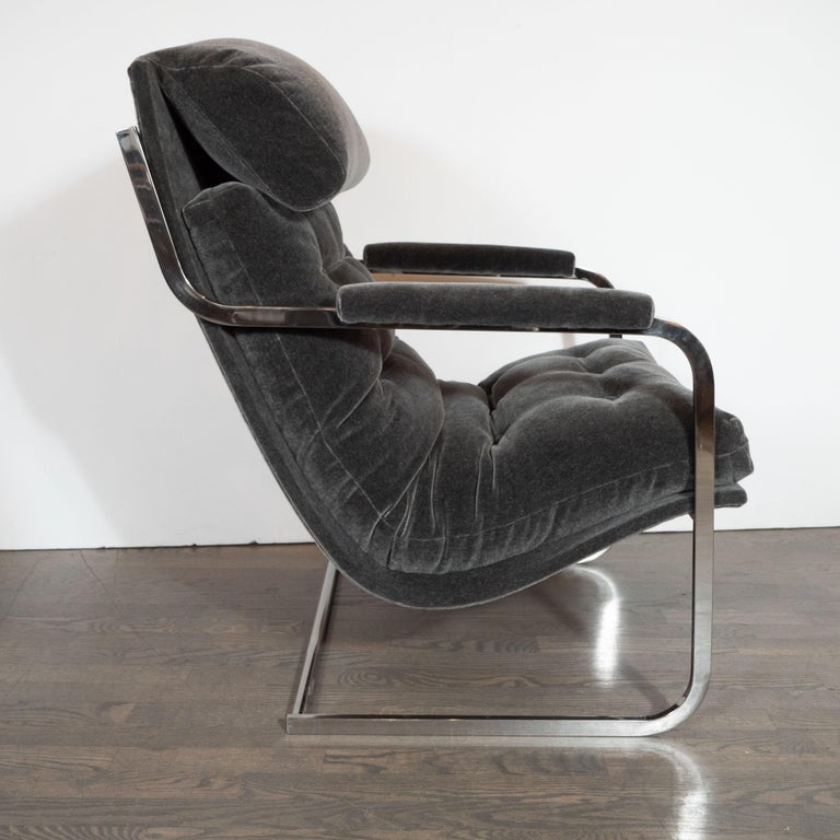 Midcentury Chrome and Graphite Mohair Button Back Lounge Chairs by Carsons In Excellent Condition In New York, NY