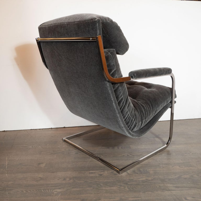 Late 20th Century Midcentury Chrome and Graphite Mohair Button Back Lounge Chairs by Carsons