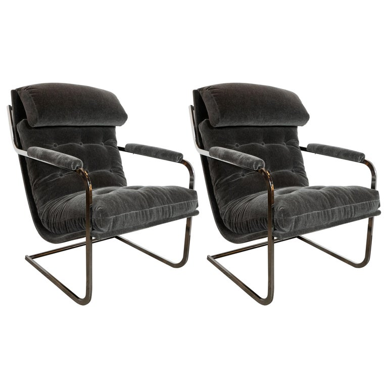 Midcentury Chrome and Graphite Mohair Button Back Lounge Chairs by Carsons
