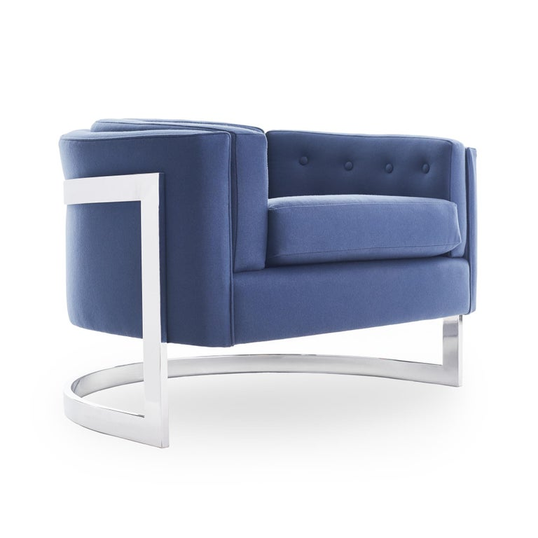 Gorgeous midcentury cantilever lounge chairs by Jules Heumann for Metropolitan Furniture, circa 1970. Newly upholstered in a soft blue wool, with high polish chrome base.   Measures: 25