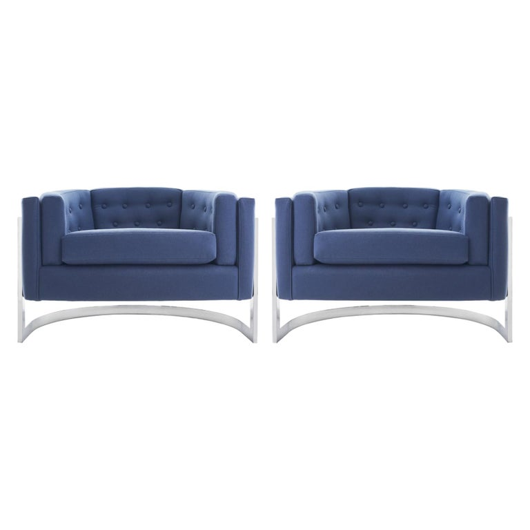 Midcentury Chrome Jules Heumann for Metropolitan Cantilever Lounge Chairs For Sale