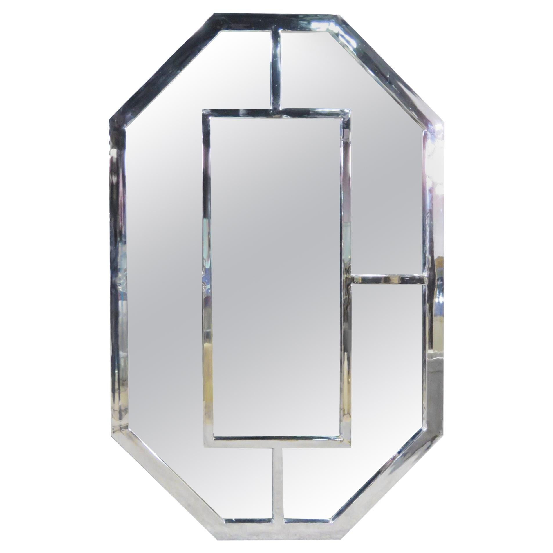 Mid-Century Chrome Mirror in the Style of Milo Baughman