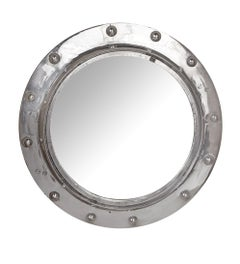 Midcentury Chrome Porthole Converted to Mirror with Bevelled Glass