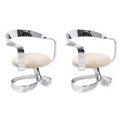 Midcentury Chrome Ribbon Style Swivel Lounge Chairs