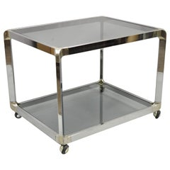 Mid Century Chrome Smoked Glass Rolling Bar Cart Occasional Side Table on Wheels