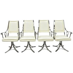 Midcentury Chrome Swivel Pedestal Base Dining Armchairs by Contempo, Set of 4
