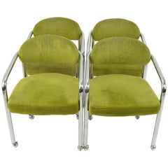 Midcentury Chromecraft Dining Chairs in Green