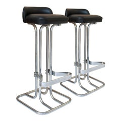 Mid-Century Chromed Leather Bar Pair of Stools, Italy, 1970