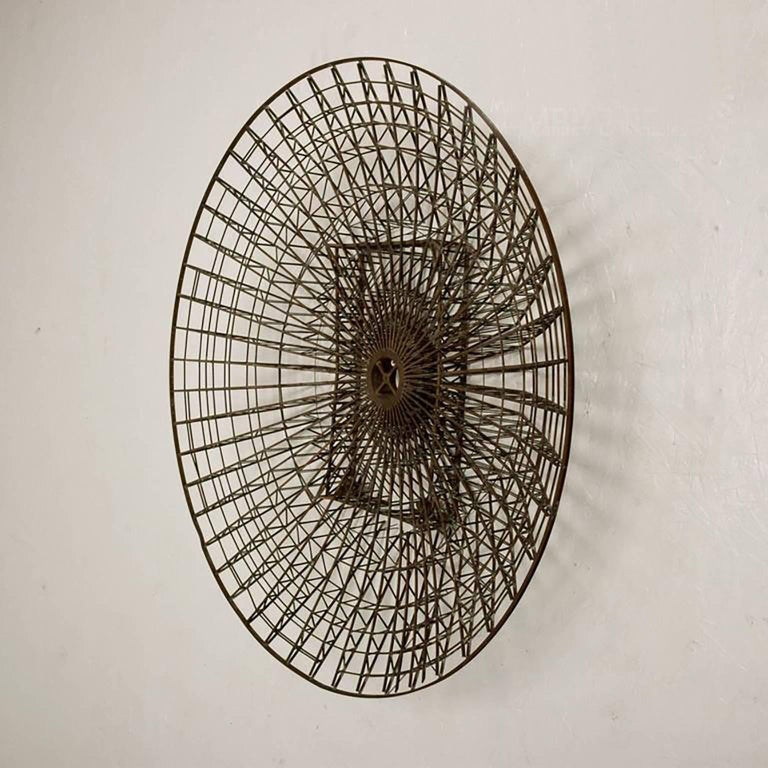 Unknown Mid-Century Circular Brass Wall Sculpture, 1960s For Sale