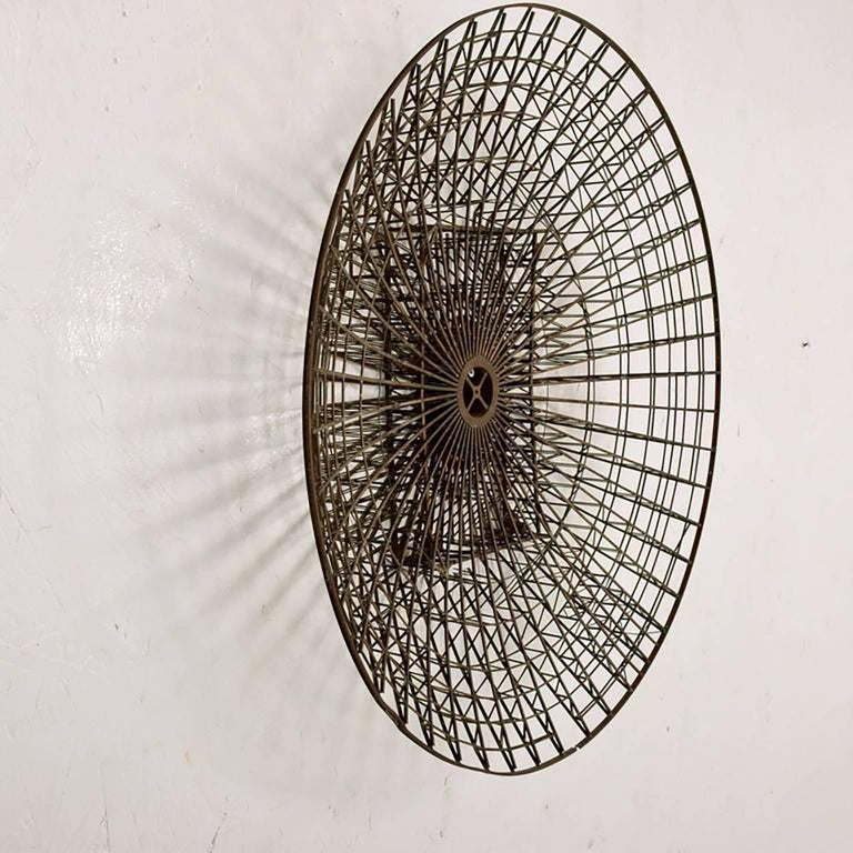 Mid-Century Circular Brass Wall Sculpture, 1960s In Good Condition For Sale In National City, CA