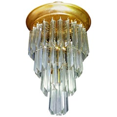 Midcentury Clear Crystal Glass Prisms and Gilt Brass Wedding Cake Chandelier