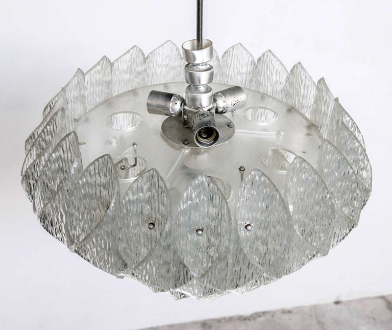 Mid-20th Century Midcentury Clear Iced Lucite 2 Tiers Chandelier For Sale