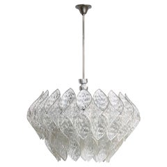 Midcentury Clear Iced Lucite 2 Tiers Chandelier