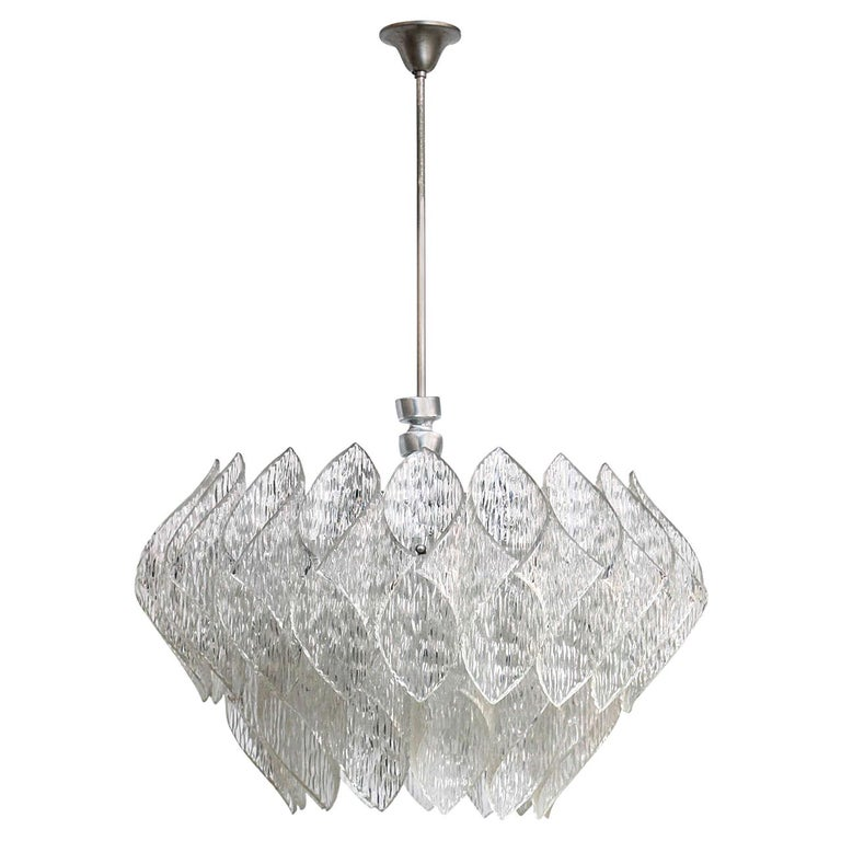 Midcentury Clear Iced Lucite 2 Tiers Chandelier For Sale