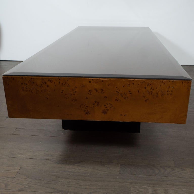 American Midcentury Cocktail Table in Carpathian Elm and Ebonized Walnut For Sale