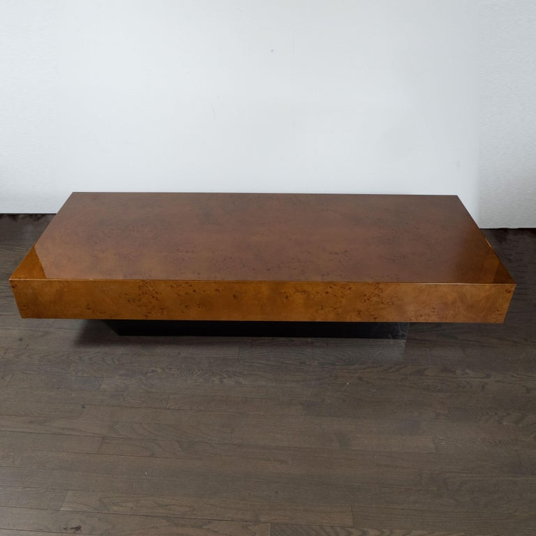 Midcentury Cocktail Table in Carpathian Elm and Ebonized Walnut In Excellent Condition For Sale In New York, NY