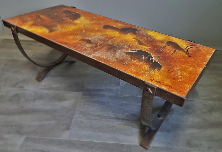 Midcentury Coffee Table by Georges Tardieu, Vallauris, France, 1960s For Sale 13