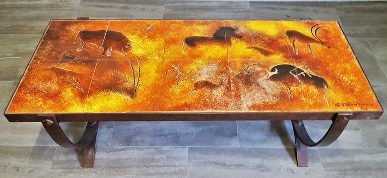 Midcentury Coffee Table by Georges Tardieu, Vallauris, France, 1960s In Good Condition For Sale In Saarbruecken, DE