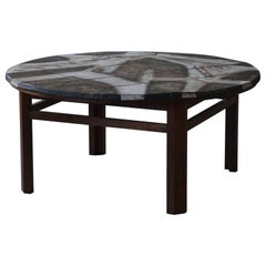 Mid Century Coffee Table by Ole Bjorn Krüger in Stoneware and Rosewood, 1960s