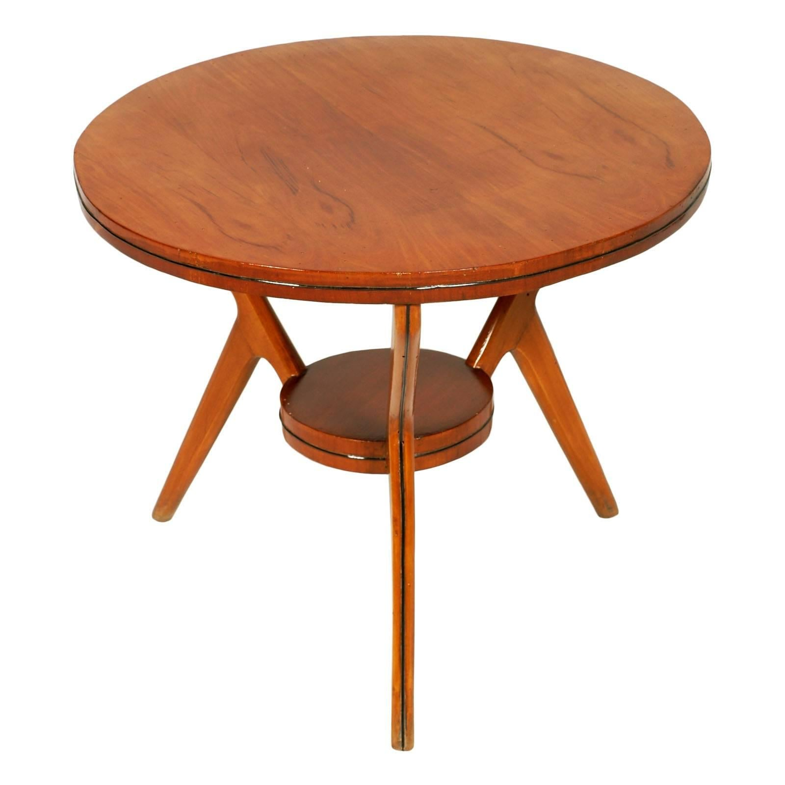 Midcentury Coffee Table Ico Parisi Attributed, Walnut and Beech Wax-Polished