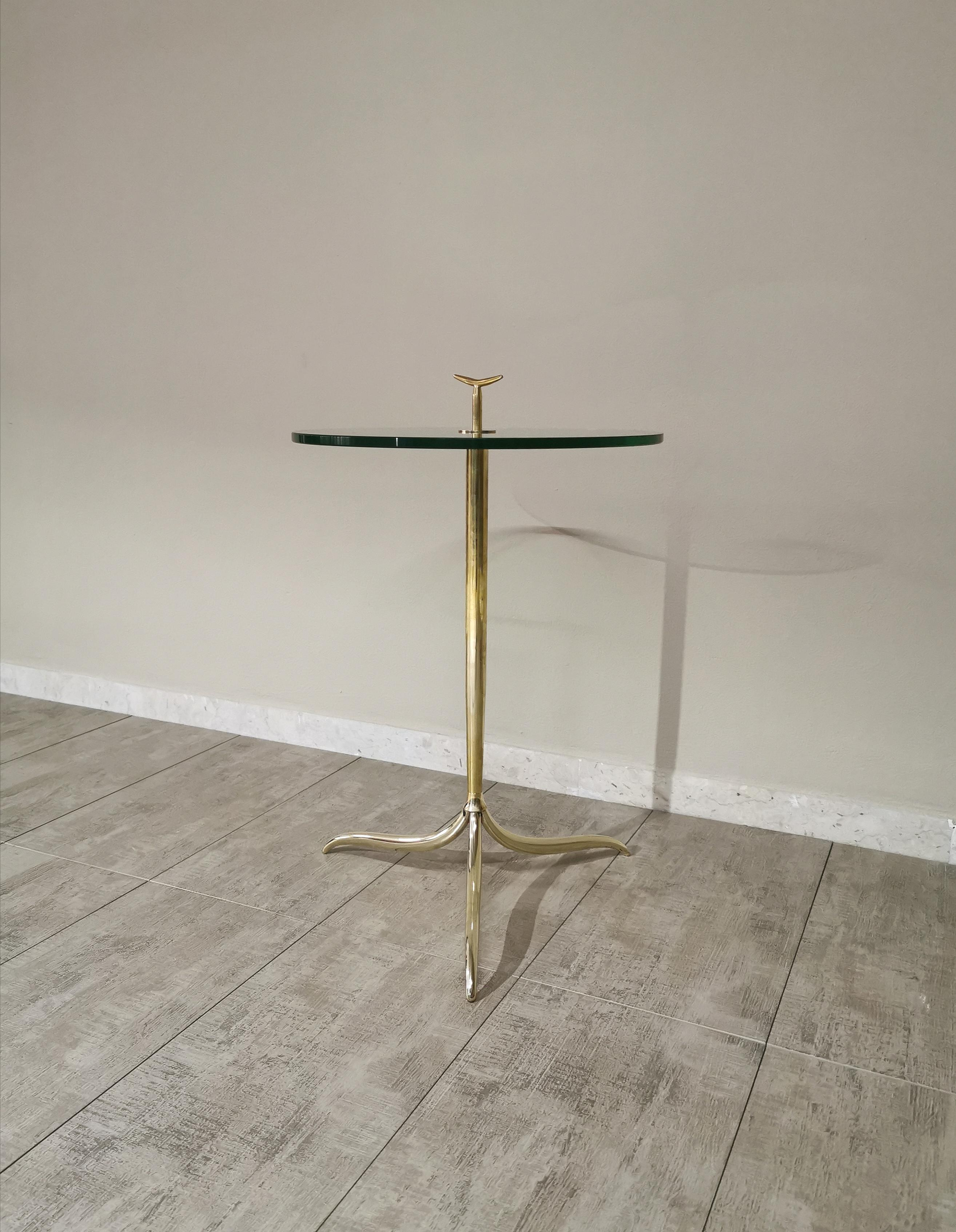 Mid Century Coffee Table In the Style of Osvaldo Borsani Brass Glass Italy 1960s