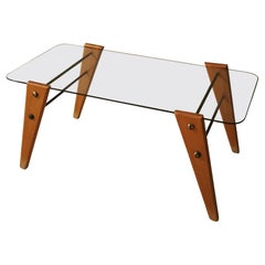 Midcentury Coffee Table in Glass and Maple Wood, Italy, 1960s