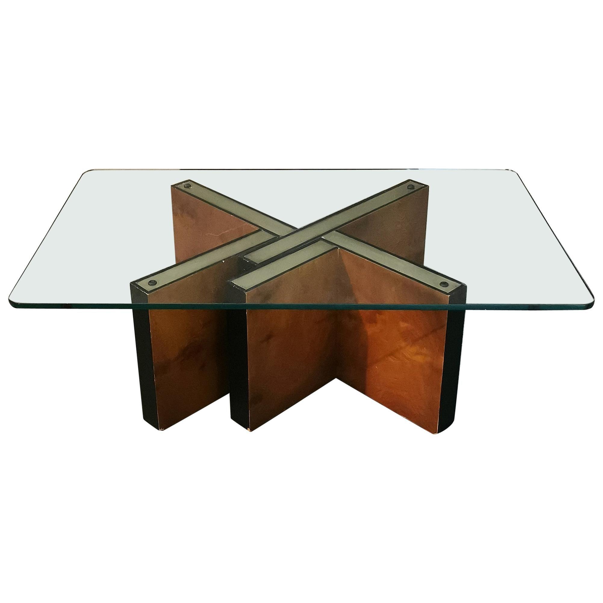 Mid Century Coffee Table Glass Briar Wood Brass Italian Design 1960s