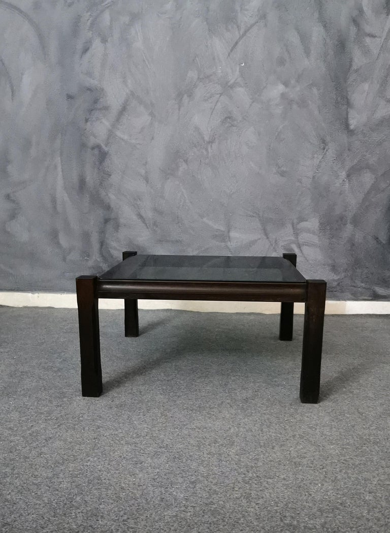 Mid-Century Modern  Mid Century Coffee Table Rosewood Smoked Glass Wood Italian Design 1960s For Sale